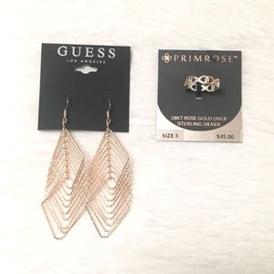 Guess Earrings and Primrose Rose Gold Ring